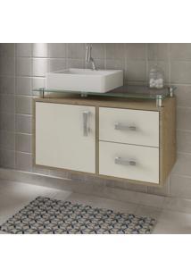 Gabinete De Banheiro 1 Cuba Sobreposta Em Base De Vidro Évora Mgm Móveis Carvalho/Off White