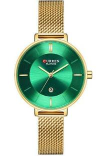 Relógio Curren Analógico C9037L Feminino - Feminino-Dourado+Verde