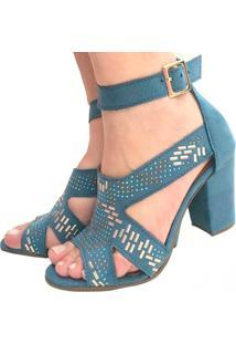 Sandália Mamogi Azul Turquesa Gladiadora Salto Médio Alto Grosso Tira Tornozelo