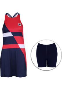 Vestido Fila Bnp Pro - Adulto - Azul Esc/Vermelho