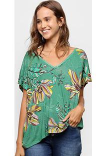Blusa Colcci Estampada Ampla Gola V Feminina - Feminino-Verde
