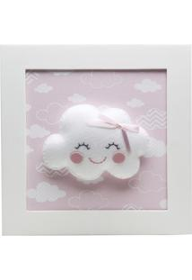 Quadro Decorativo Nuvem Com Carinha Bebê Infantil Potinho De Mel Rosa