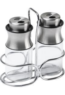 Conjunto Porta Condimentos Brinox Cucina Parma Vidro/Inox 3 Peças