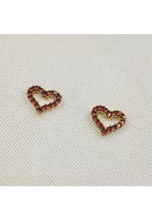 Brinco De Coração Vazado Com Micro Zircônia Rubi
