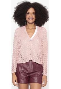 Cardigã Em Tricô Com Micro-Furos - Rosa Claro - Woolwool Line