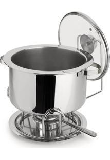Réchaud Banho Maria Bowl Embutido Aço Inox Tampa De Vidro 8,2 Litros 6 Peças Pastilhas Álcool Sólido