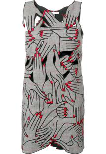 Vivetta Embroidered Hands Playsuit - Preto
