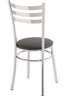 Cadeira Para Cozinha Assento Estofado 404 Unimóvel Cromado/Preto