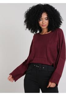 Blusa Feminina Ampla Em Tricô Quadriculado Vinho