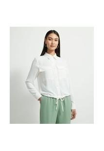 Camisa Manga Longa Com Bolsos Frontais E Amarração Na Cintura | Cortelle | Branco | Gg