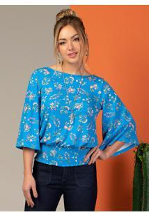 Blusa Ampla Floral Azul Com Elástico Na Barra