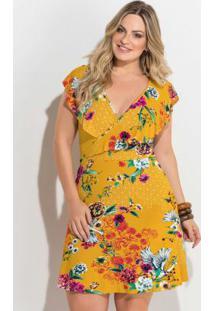 Vestido Transpassado Estampado Amarelo Plus Size