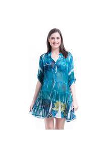 Vestido Chemise 101 Resort Wear Crepe Babados Estampado Meia Manga Verde