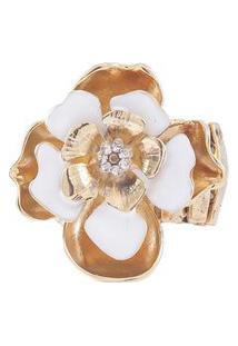 Anel Armazem Rr Bijoux Flor Com Cristais Dourado
