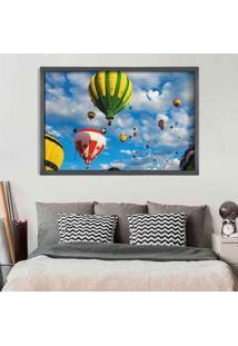 Quadro Love Decor Com Moldura Balloons In The Sky Grafitti Metalizado Médio