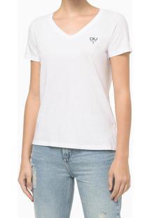 Blusa Feminina Slim Ckj Ômega Branca Calvin Klein Jeans - Gg