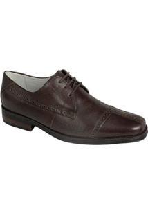 Sapato Social Couro Derby Sandro Moscoloni Masculino - Masculino-Marrom Escuro