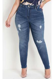 Calça Jeans Sawary 360 Destroyed Plus Size