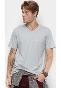 Camiseta Cavalera Básica Gola V Masculina - Masculino-Cinza