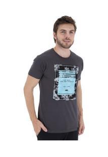 Camiseta Hd Retrô Hibiscus - Masculina - Cinza Escuro