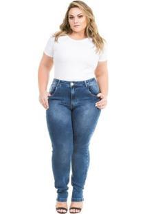 Calça Confidencial Extra Plus Size Jeans Cigarrete Com Elastano Feminina - Feminino-Azul