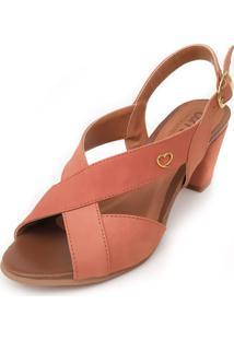 Sandália De Salto Em Couro Amo Calçados Lovely Sela