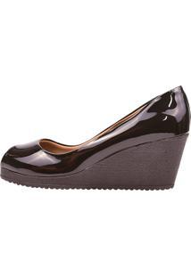 Sapato Eleganteria Scarpin Anabela Salto Médio Bico Aberto Preto