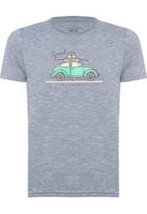 Camiseta Aleatory Estampada Travel Masculina - Masculino-Azul