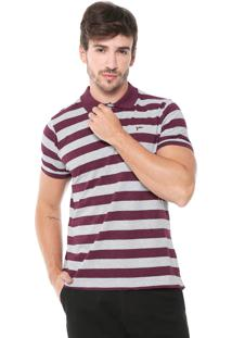 Camisa Polo Yachtsman Reta Listrada Vinho/Cinza