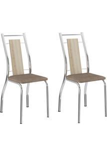 Kit 2 Cadeiras 1720 Anis/Camurça Conhaque Cromado - Carraro Móveis