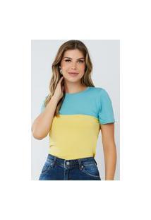 Blusa Feminina Bicolor Elen Azul E Amarela