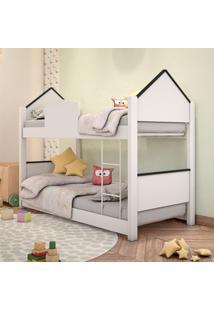 Beliche Infantil Casa Branca E Preta Com Colchões Casah