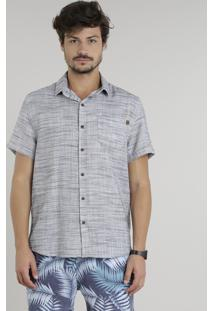 Camisa Masculina Mescla Manga Curta Cinza Claro