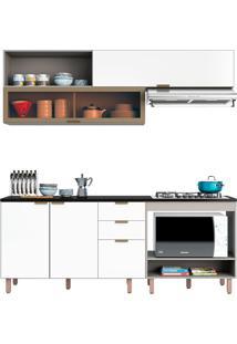 Cozinha Modulada Flair Com Nicho Para Forno E Micro-Ondas - Poliman - Branco / Fume