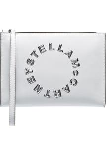 Stella Mccartney Clutch Envernizada Com Logo - Branco