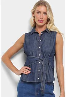Camisa Jeans Colcci Amarração Feminina - Feminino