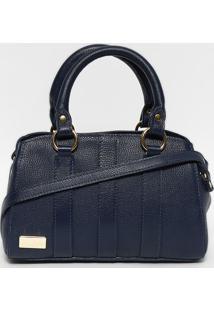 Bolsa Em Couro Com Recortes- Azul Marinho & Dourada-Anette