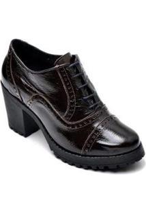 Bota Ankle Boot Oxford Em Couro Trivalle Shoes Feminina - Feminino-Preto