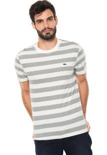 Camiseta Lacoste Reta Listras Off-White/Verde