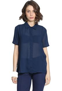 Camisa Manga Curta Energia Fashion Azul Marinho