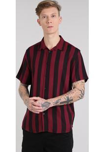 Camisa Masculina Listrada Manga Curta Vinho