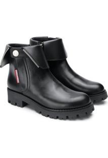 Dsquared2 Kids Ankle Boot De Couro - Preto