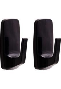 Cabide Adesivo Removível Grande Com 2 Unidades Preto Astra