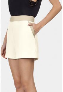 Shorts Cintura Alta Em Tecido Bege Valsa - Lez A Lez