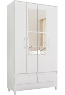 Guarda Roupa Ametista C/ Espelho 4 Portas E 2 Gavetas Externas Biflex Branco/Rosa Albatroz
