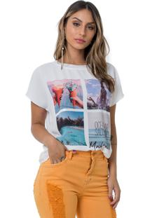 Blusa Moikana T-Shirt Gola Tricot Tigre Branco
