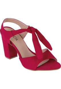 Sandália Vermelha Em Camurça Sintética