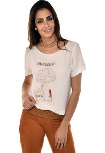 Blusa Manga Curta Banca Fashion Casual Chique Off-White