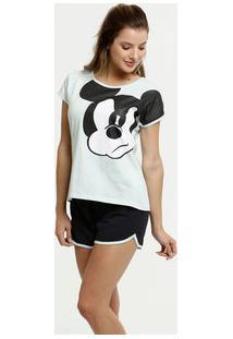 Pijama Feminino Estampa Mickey Manga Curta Disney