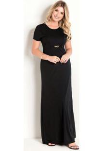 Vestido Longo Com Fivela Preta Moda Evangélica